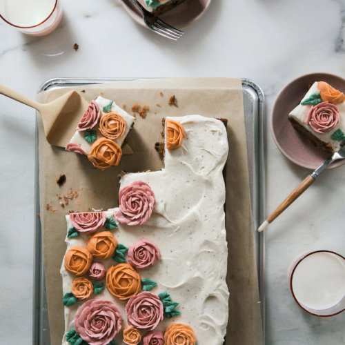 Carrot Sheet Cake With Buttercream Flowers And Brown Butter Cream Cheese Frosting