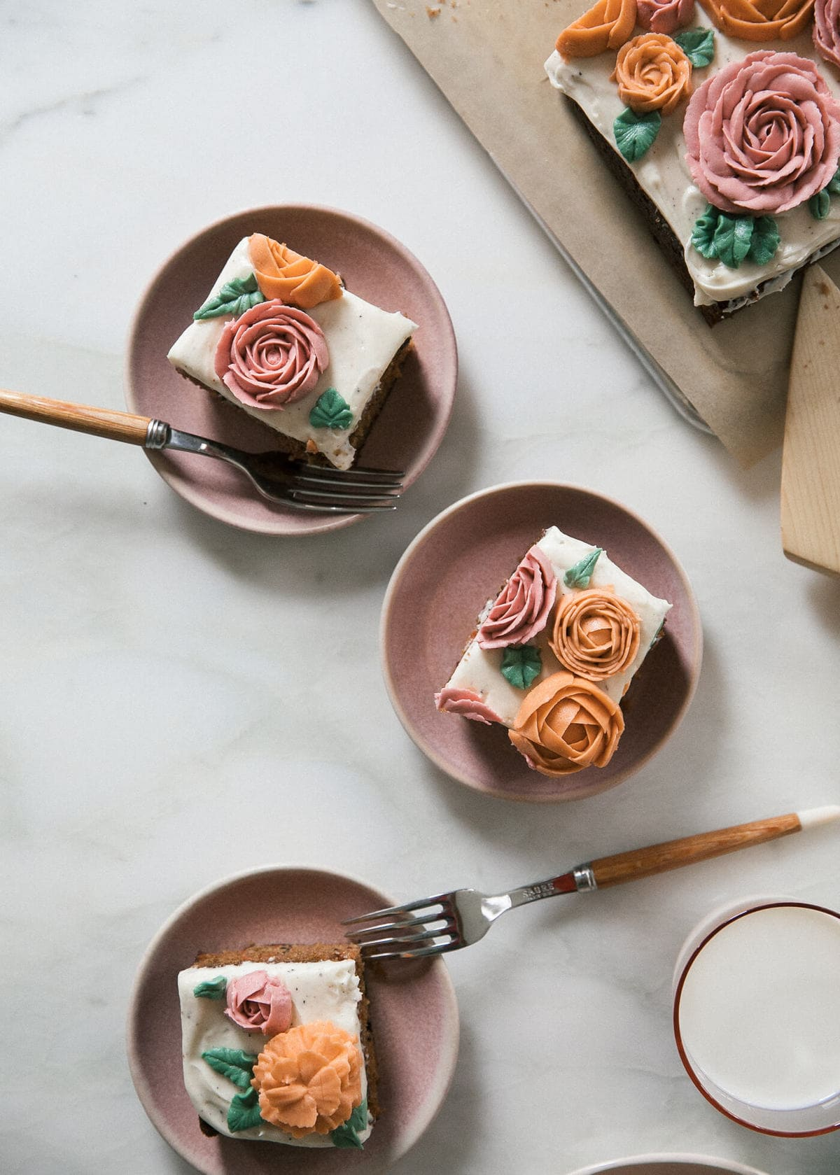 Carrot Sheet Cake with Buttercream Flowers