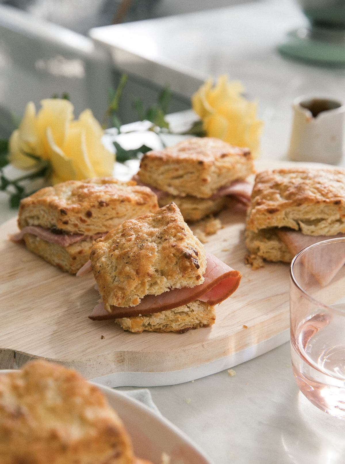 Smoked Gouda Black Pepper Biscuits with Spiral Spiced Ham