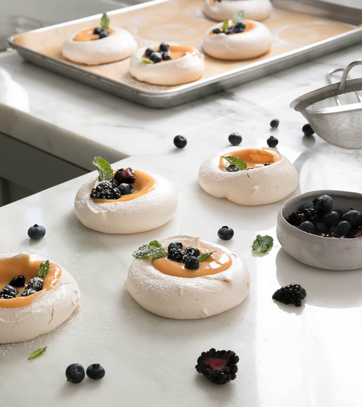Meringues with Citrus Curd and Fruit