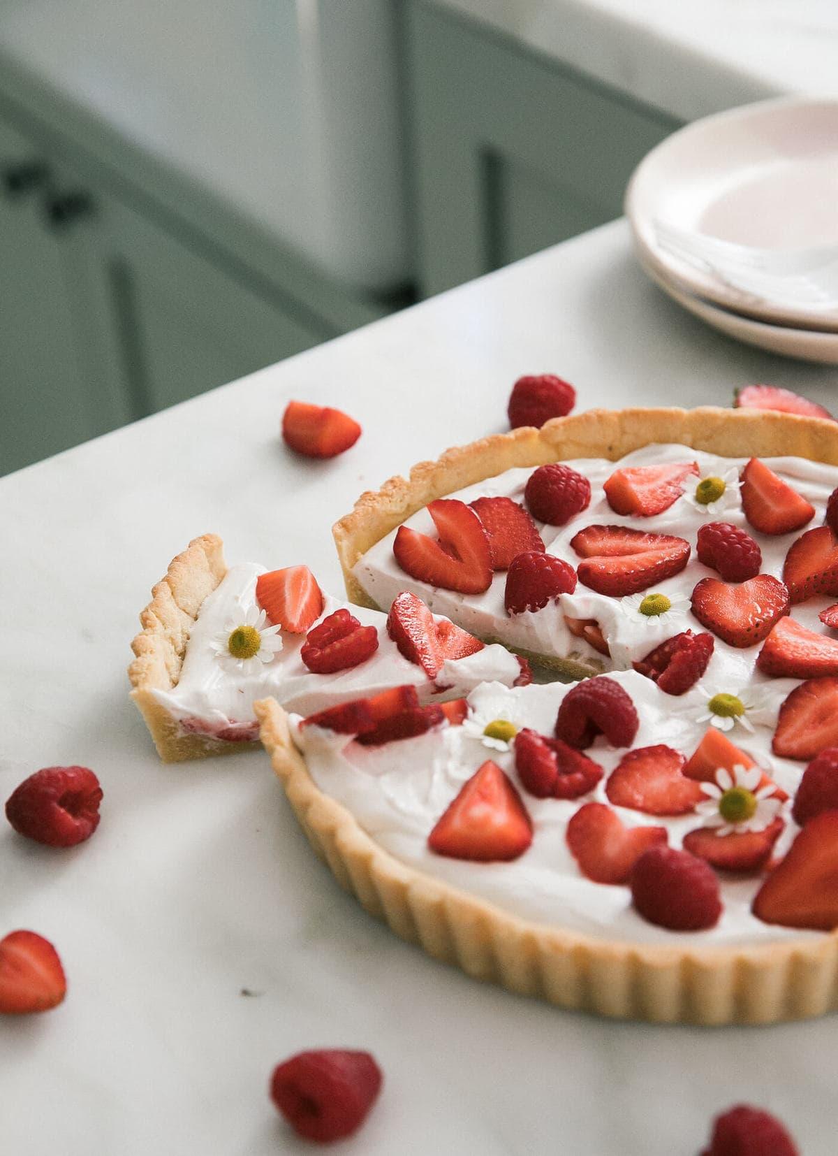 Gluten-Free Summer Strawberry Coconut Tart