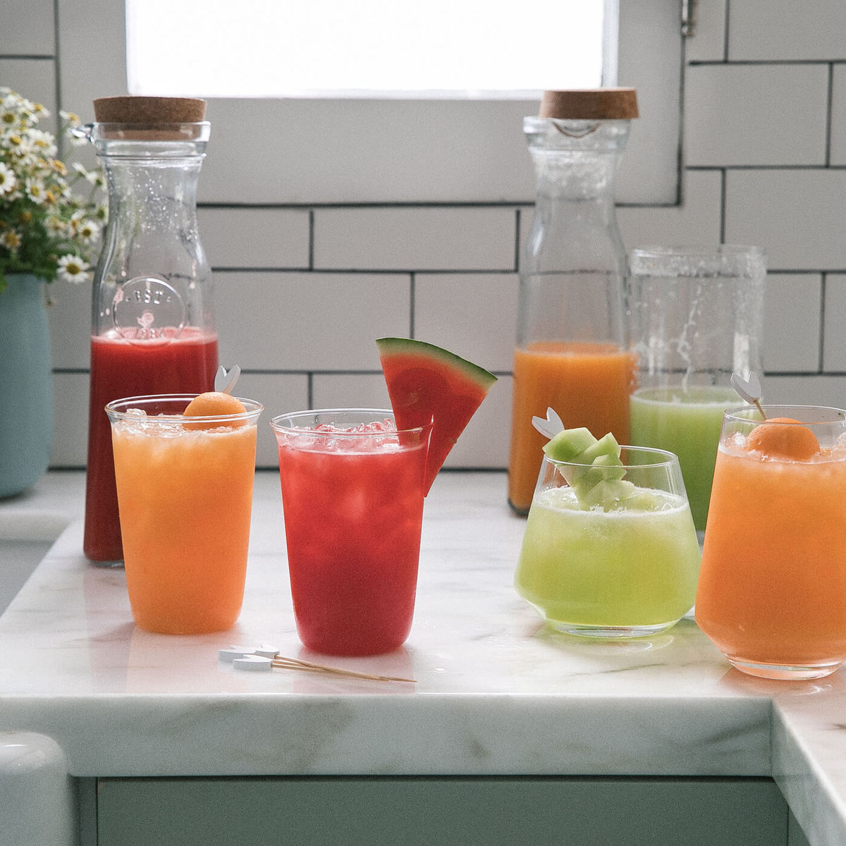 Aguas Frescas (Watermelon, Canteloupe + Honeydew)