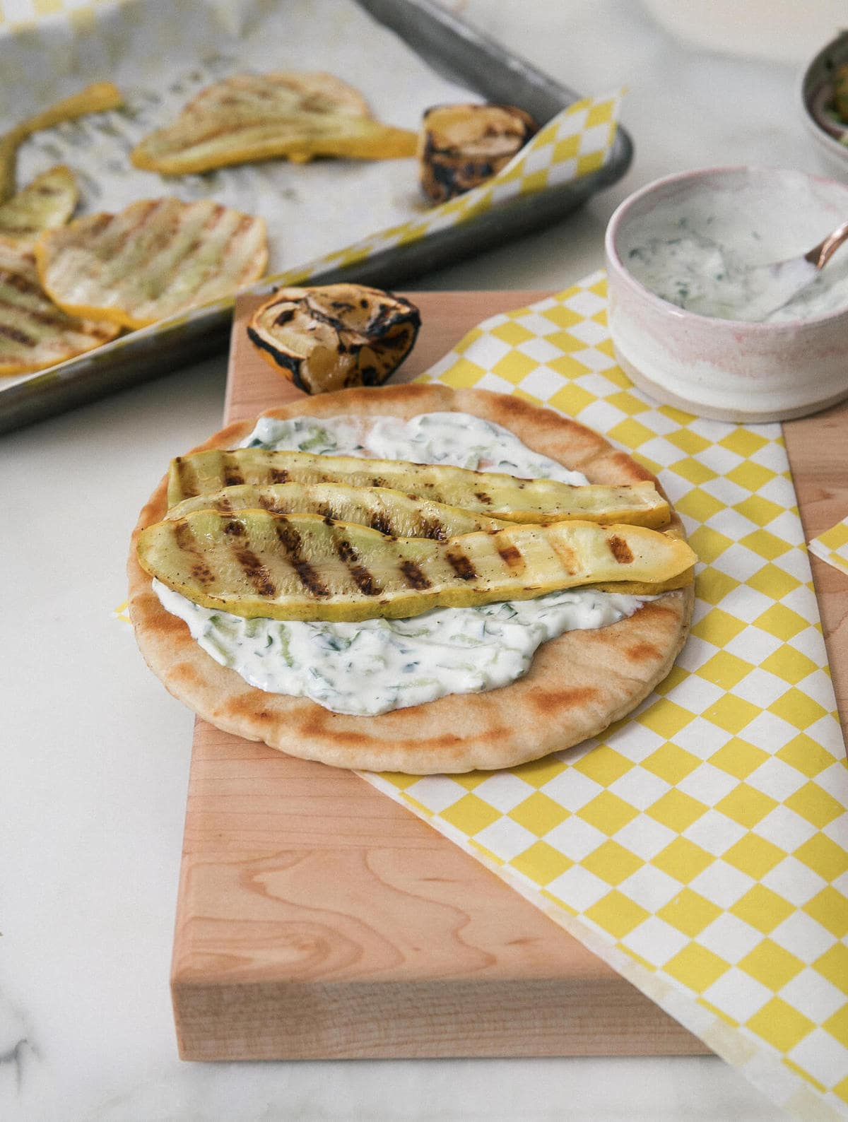 Summer Squash Gyros with Tzatziki