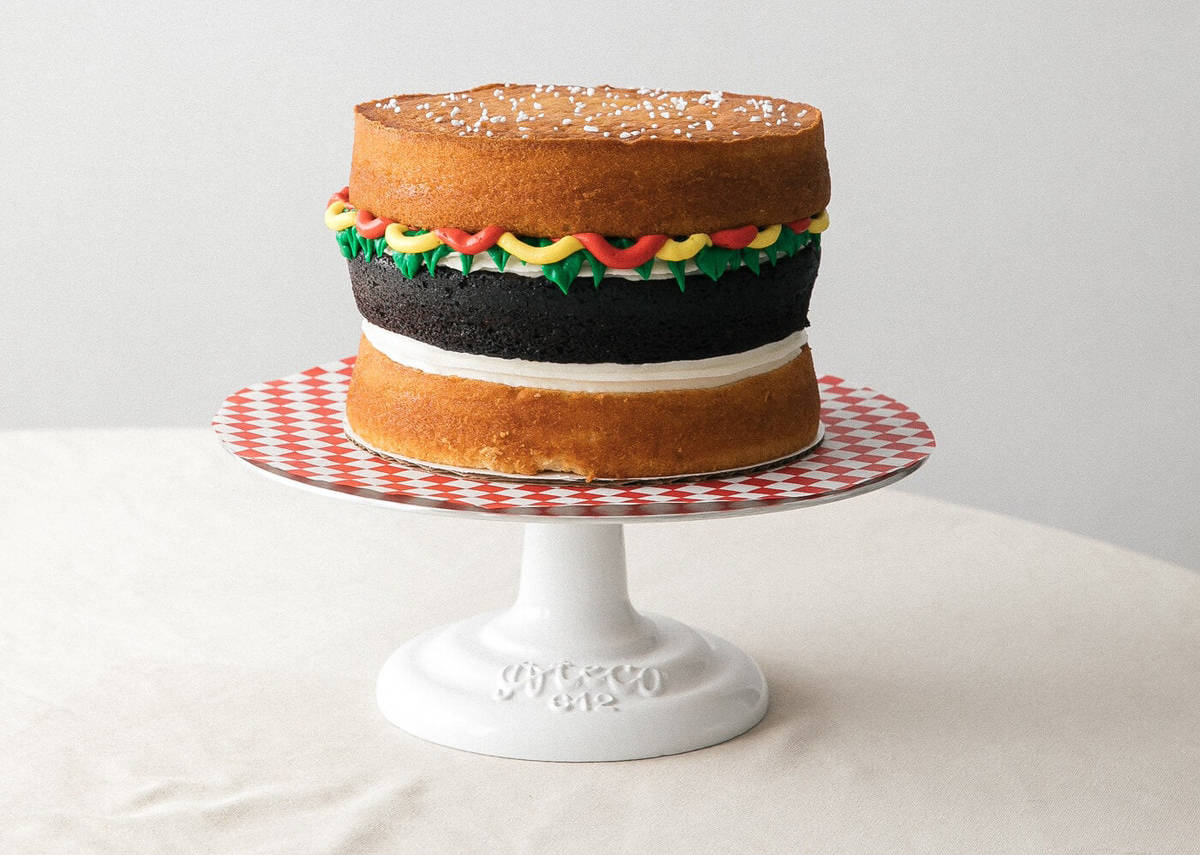 Remarkable Hamburger Cake With Buttercream Condiments A Cozy Kitchen Funny Birthday Cards Online Inifofree Goldxyz