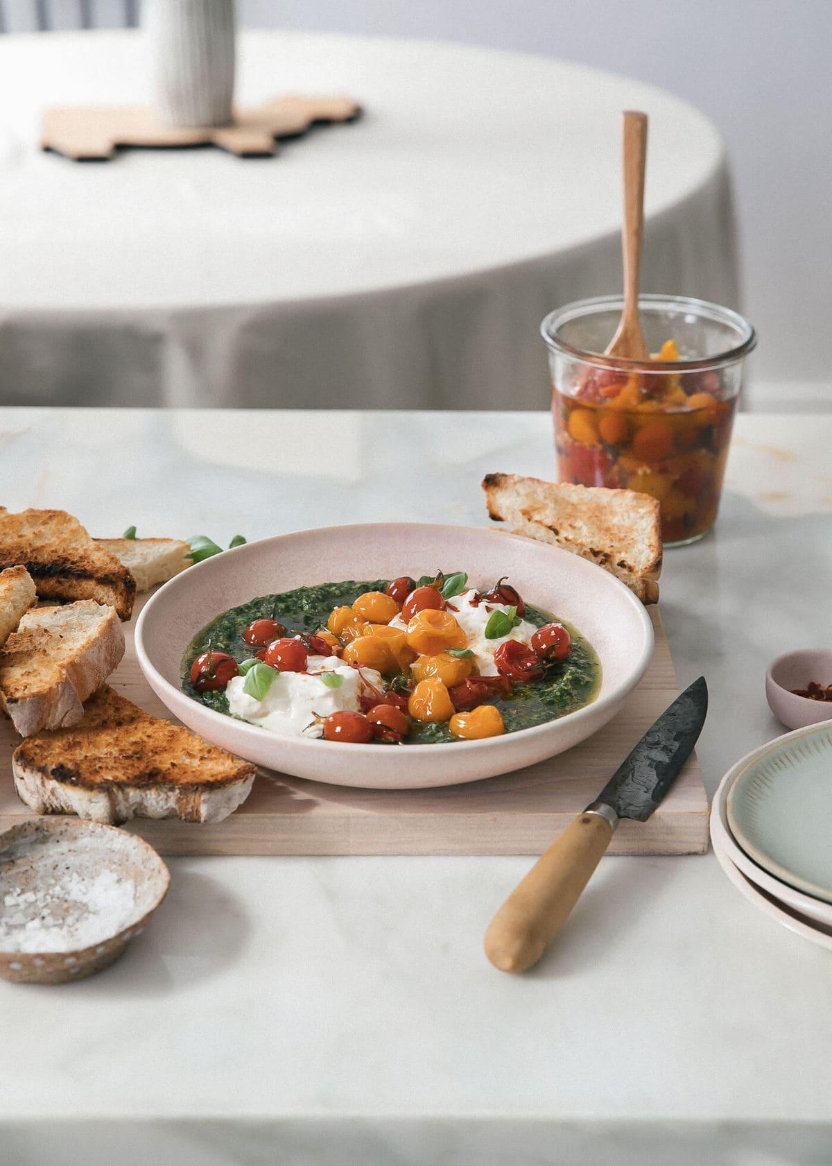 Tomato Confit with Burrata and Pesto