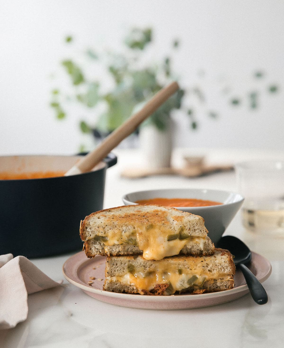 Roasted Tomato + Hatch Chile Soup with a Grilled Cheese (of course)