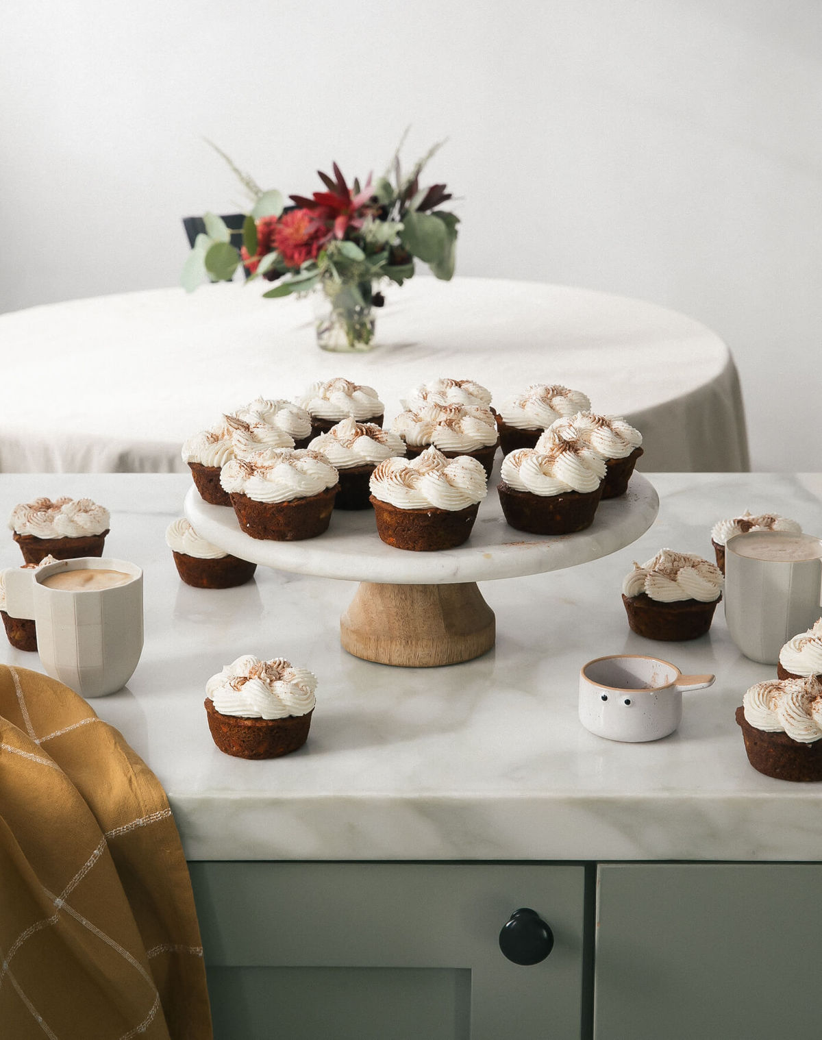 Masala-Chai Carrot Cupcakes with Spiced Frosting