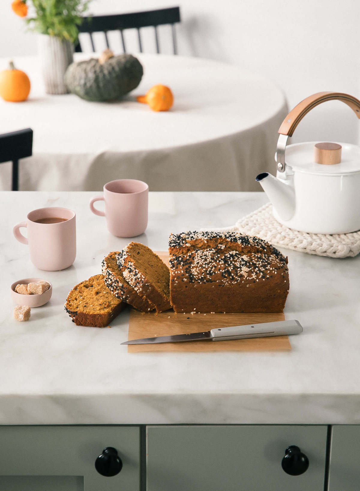 The Best Fall Recipes - pumpkin tahini loaf