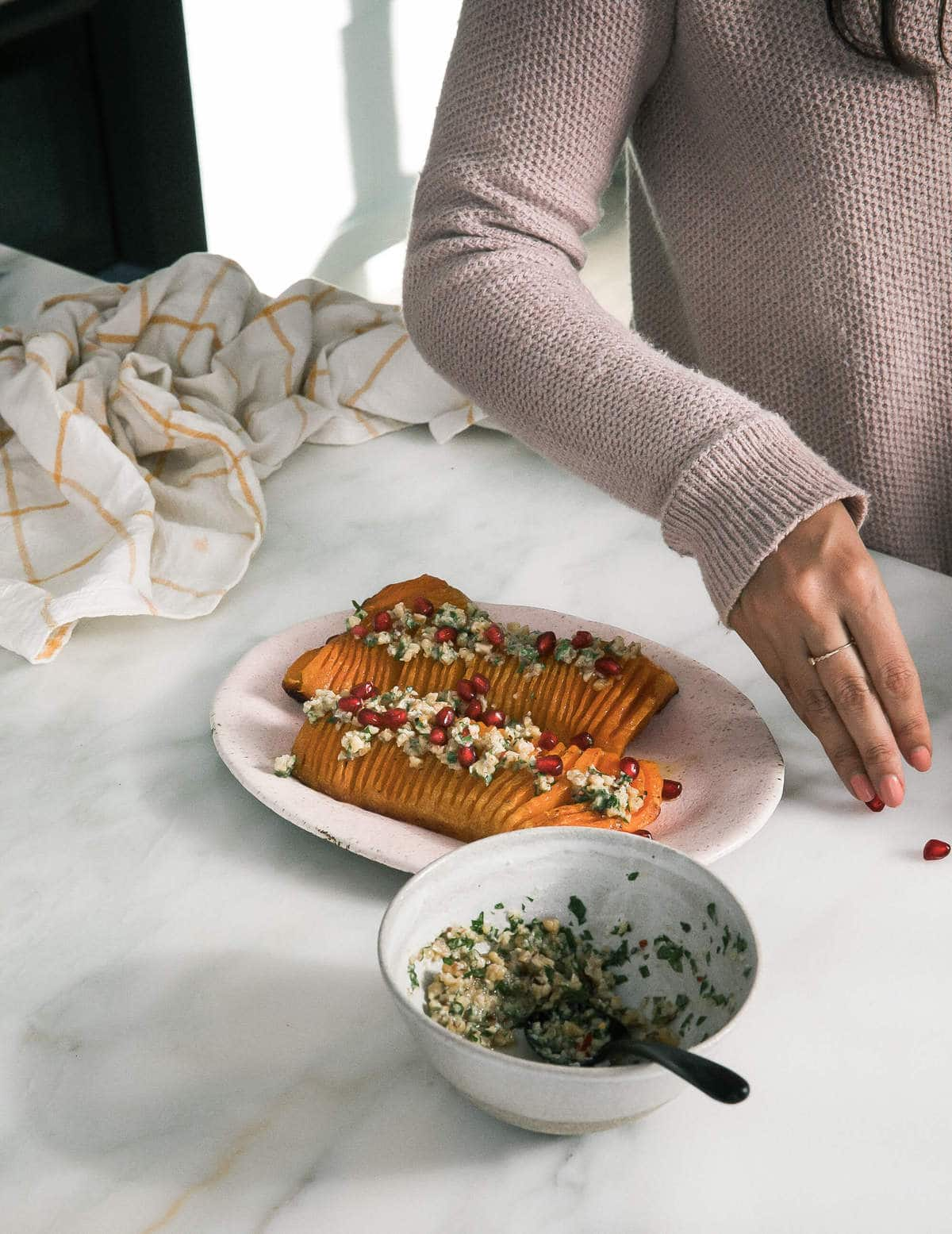 Hasselback Butternut Squash with Walnut Gremolata