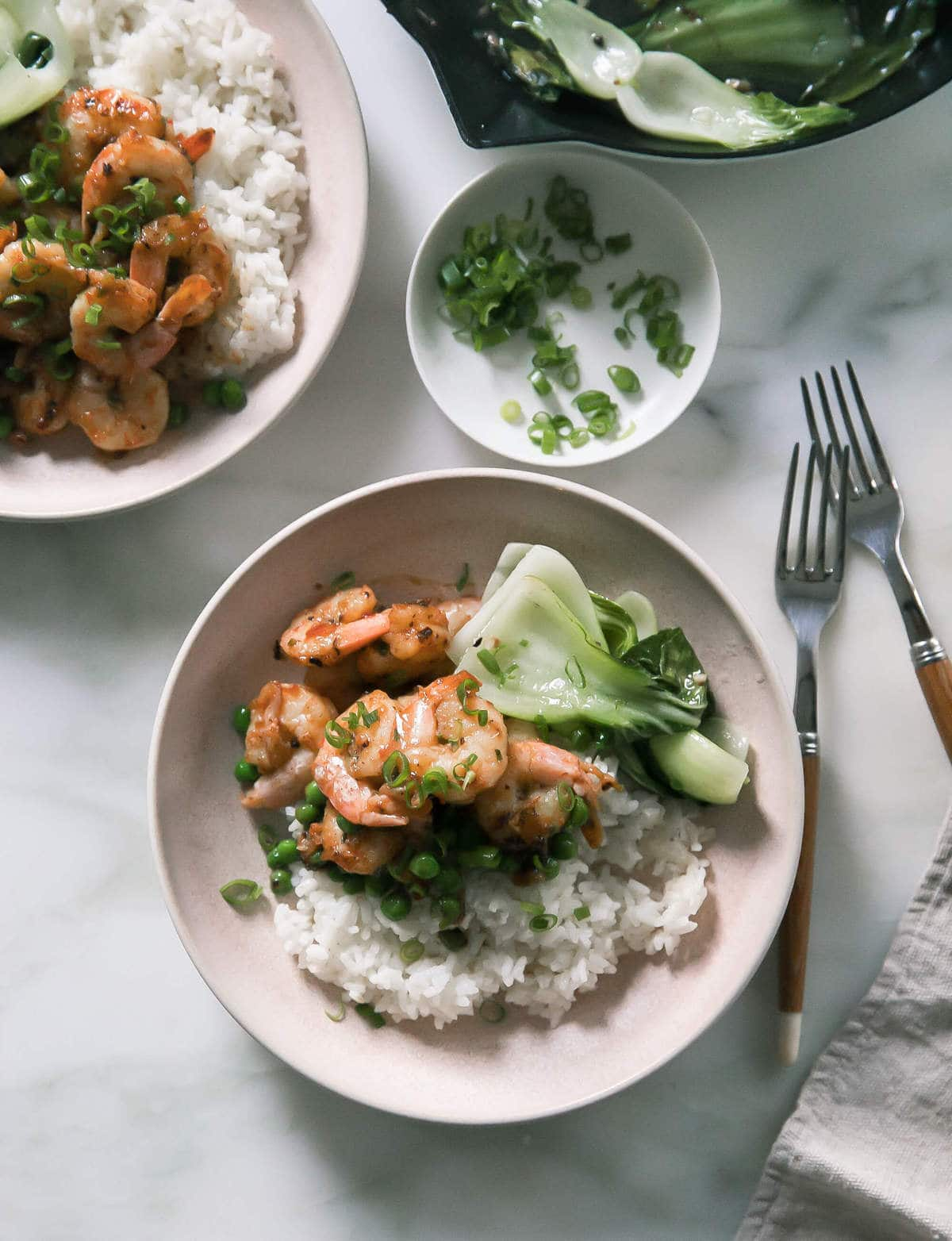 Ginger Shrimp Stir-Fry with Garlic Bok Choy
