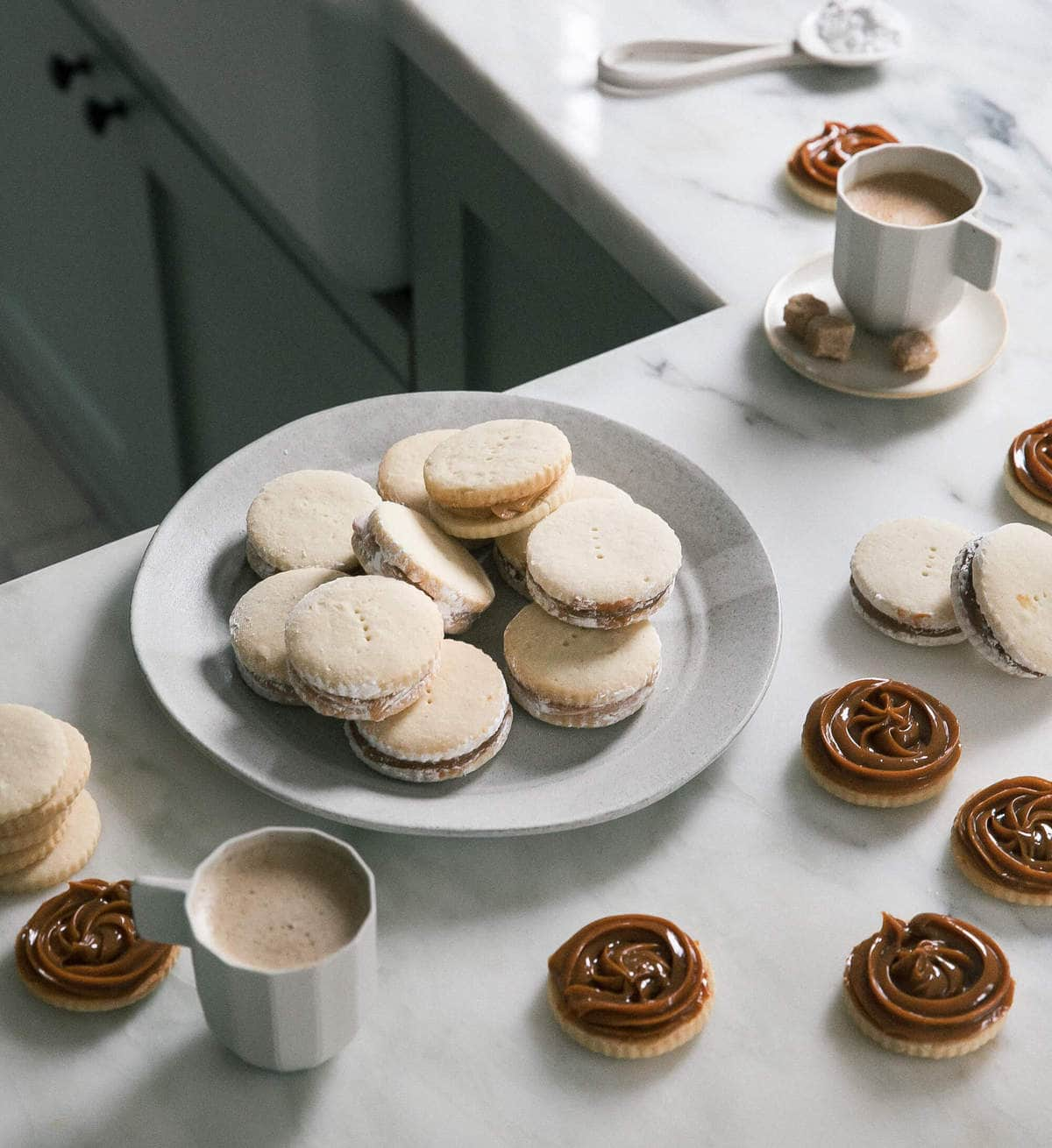 Plate of Alfajores with coffee