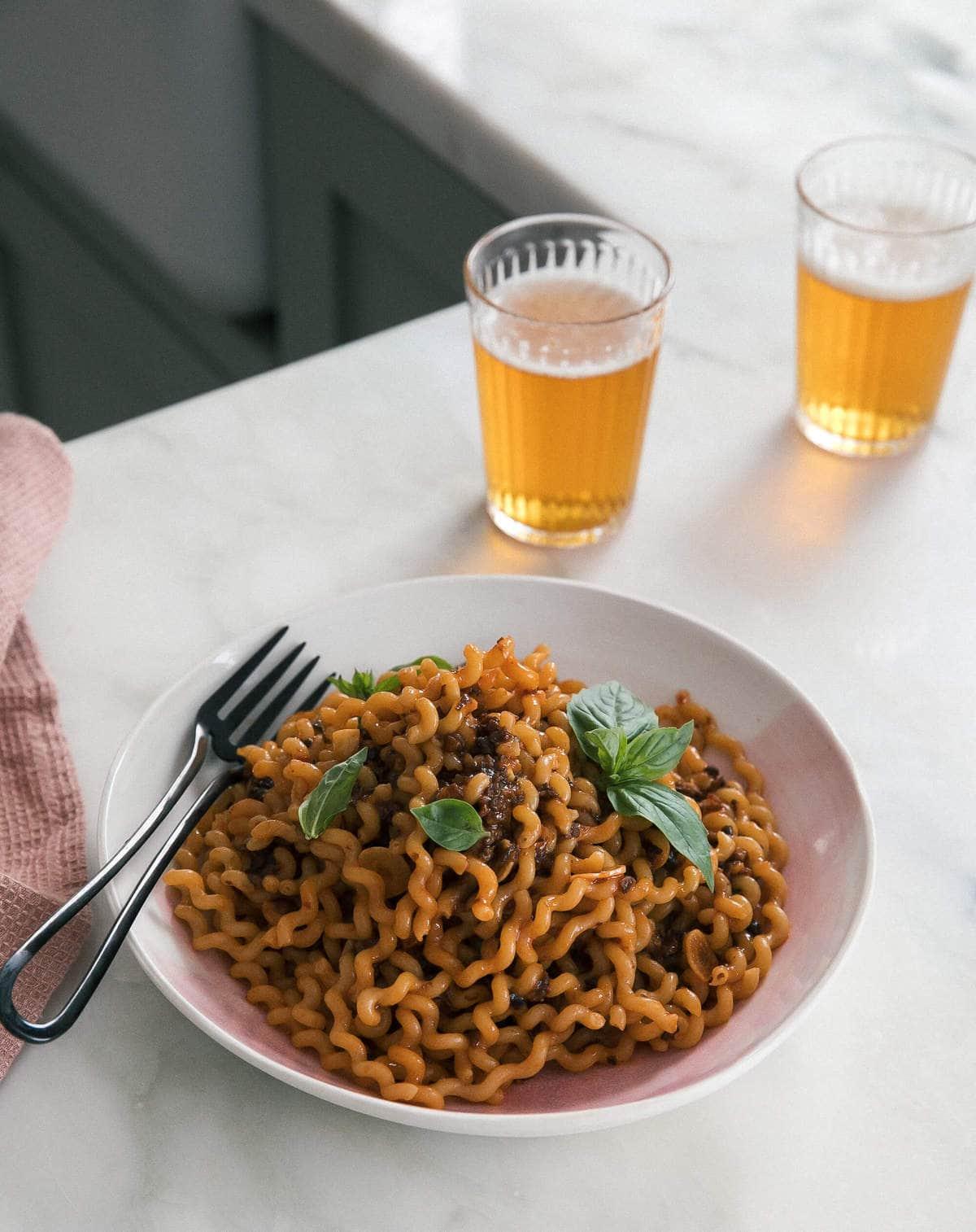 Spicy Sambal Mushroom Noodles