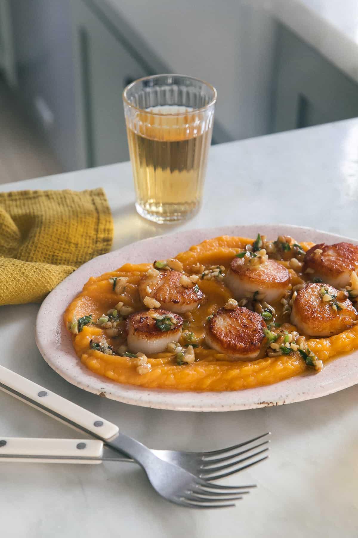 Seared Scallops with Cheesy Acorn Squash Mash