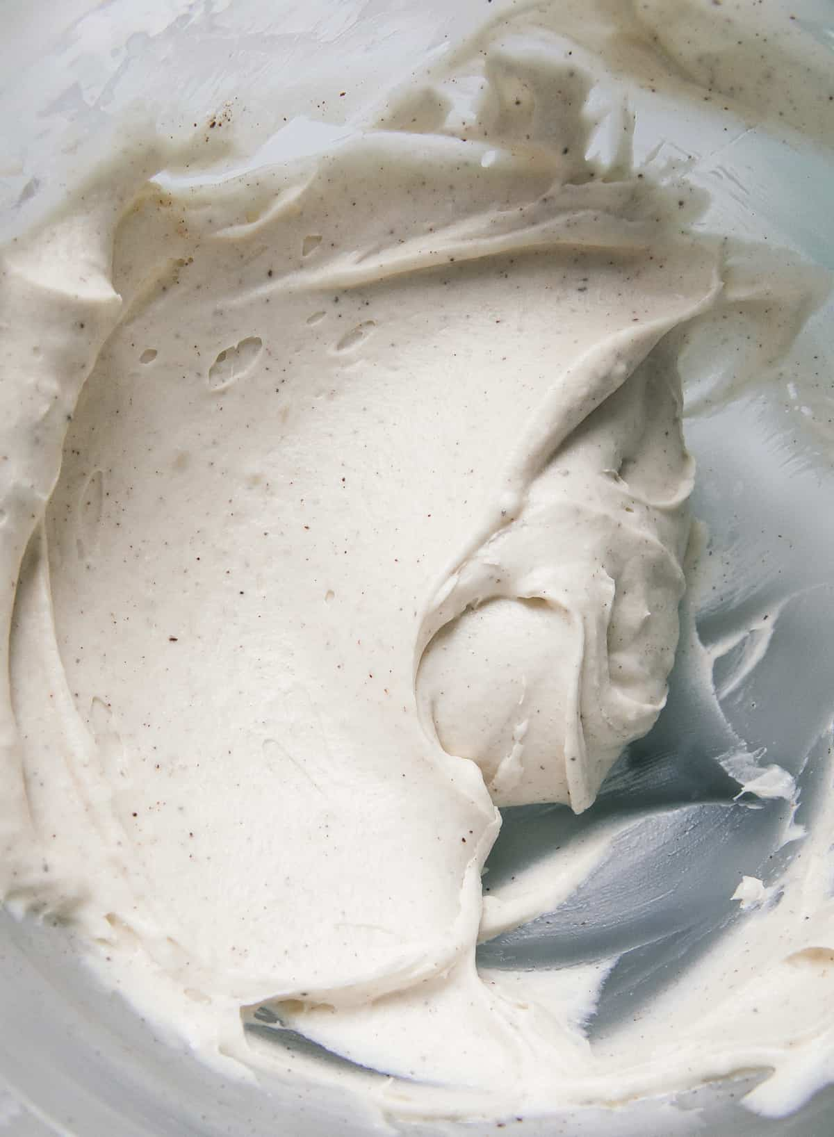 Close up of brown butter cream cheese frosting