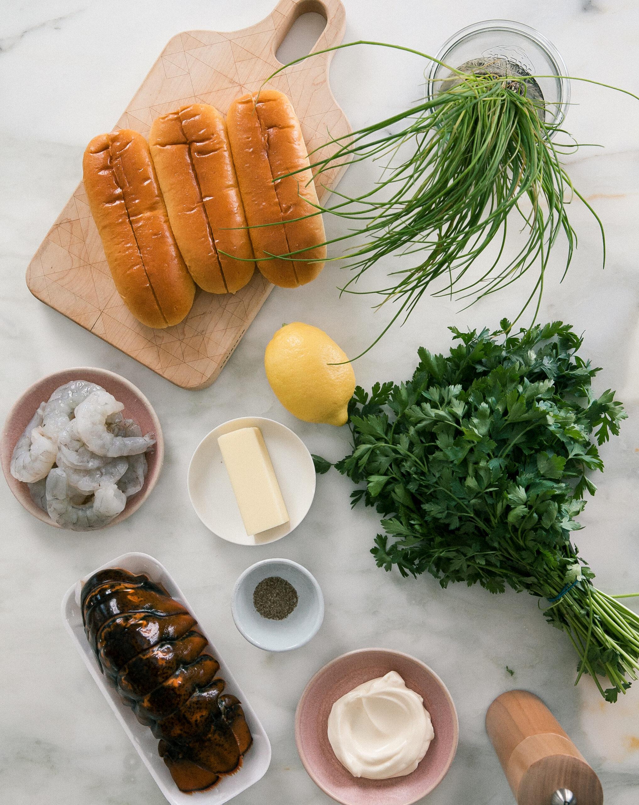 Ingredients - lobster, shrimp, brioche buns
