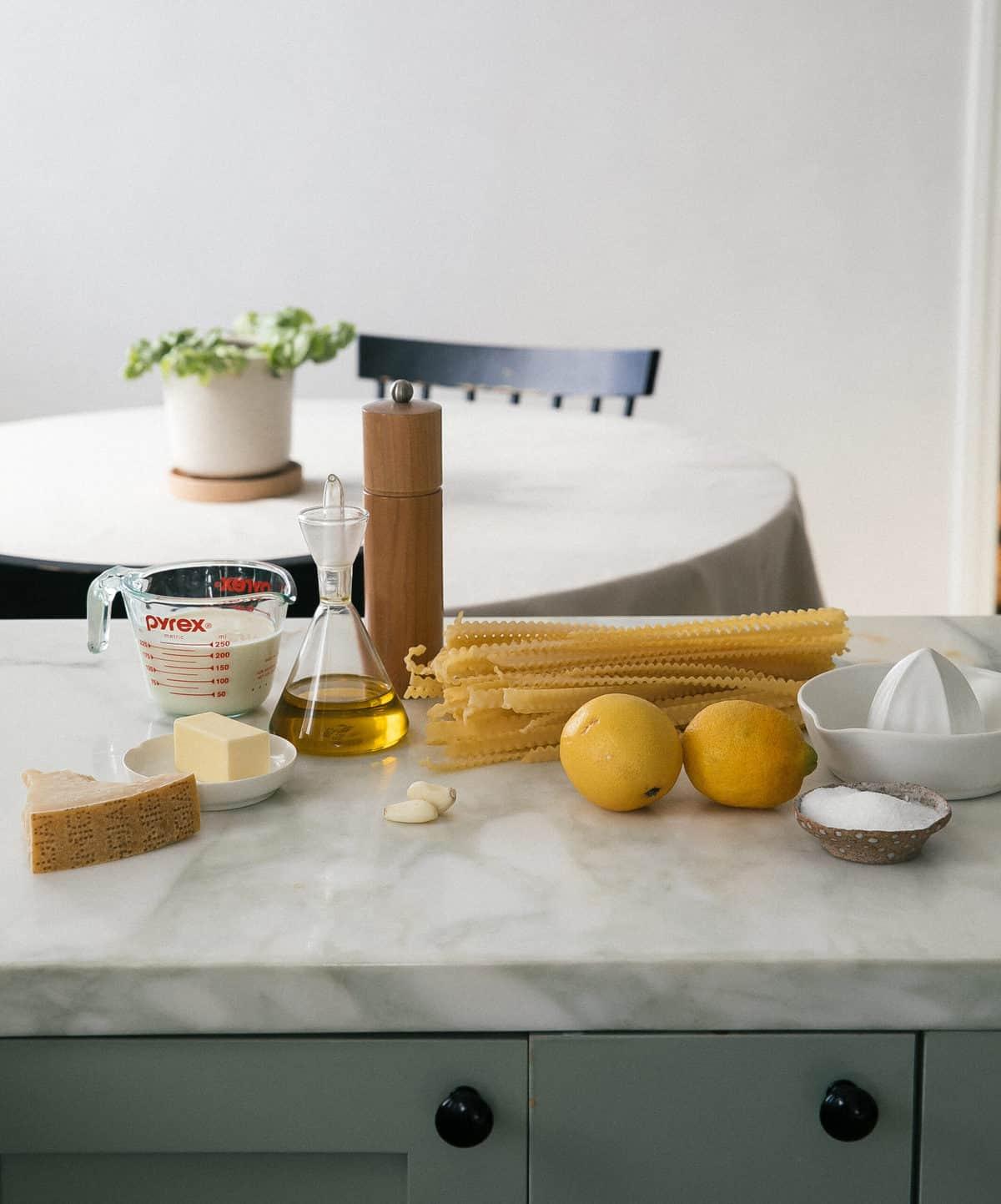 Ingredients: pasta, lemons, olive oil, garlic, butter