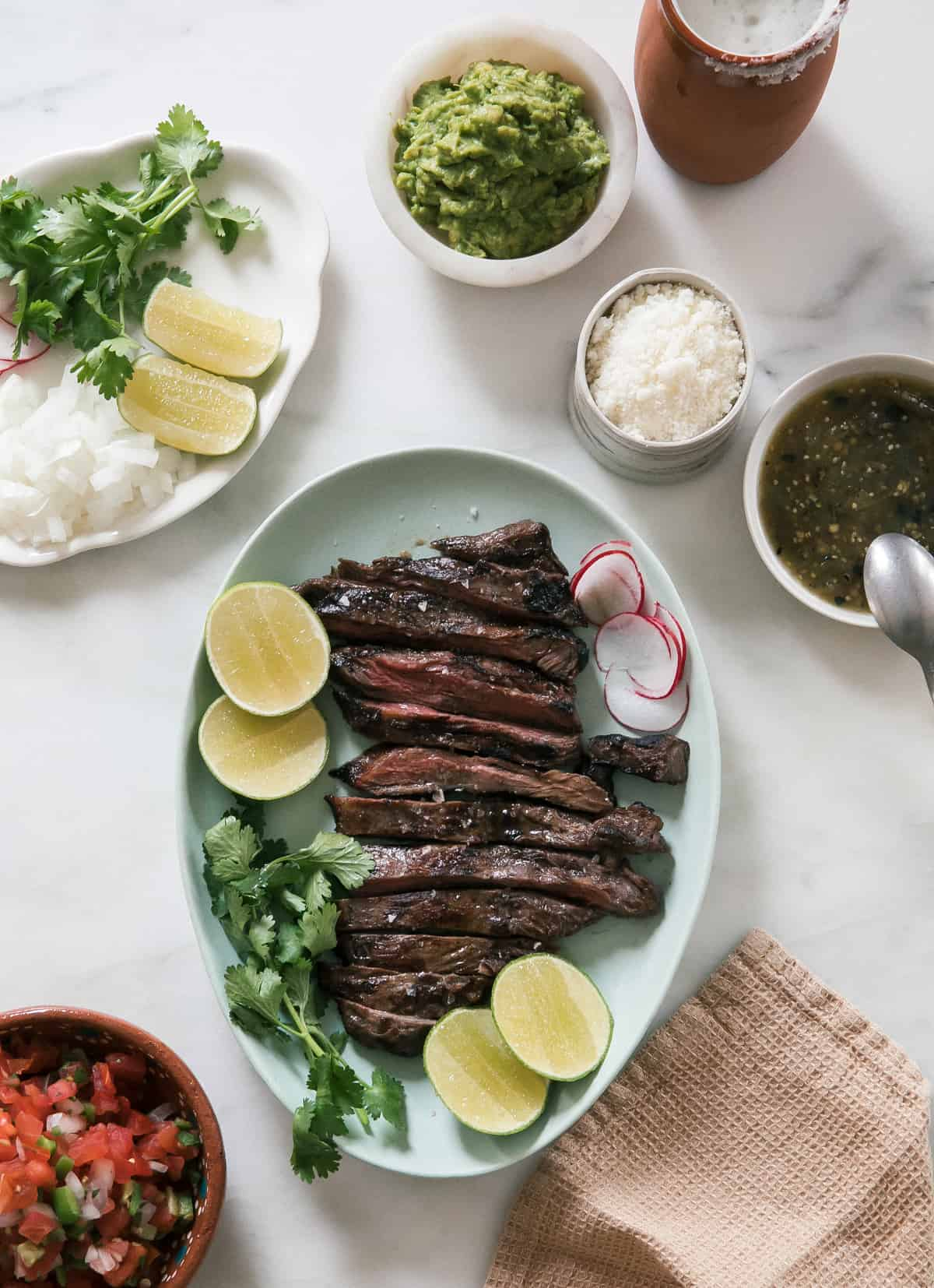 Overhead shot of carne asada plated