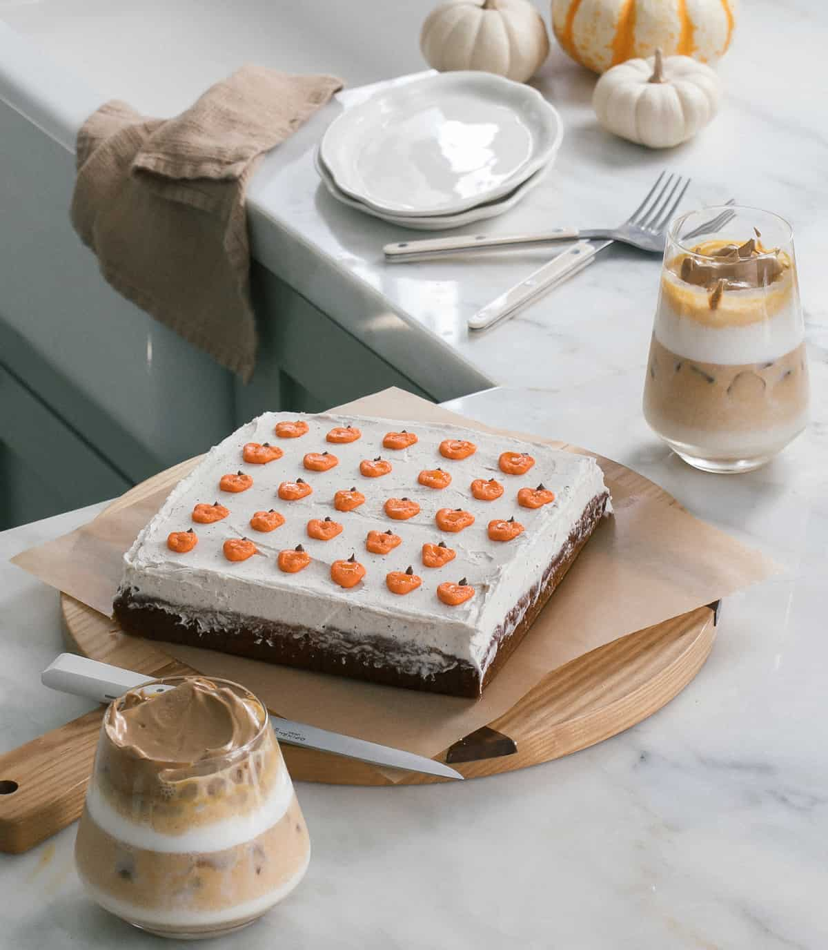 Mini Pumpkin Sheet Cake with Brown Butter Frosting