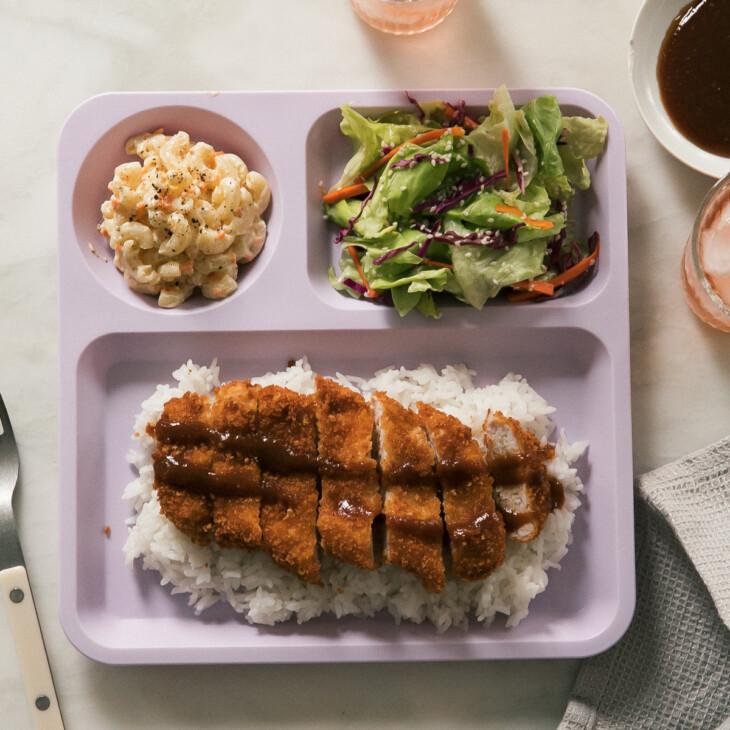 Overhead pork katsu on plate with mac salad and salad