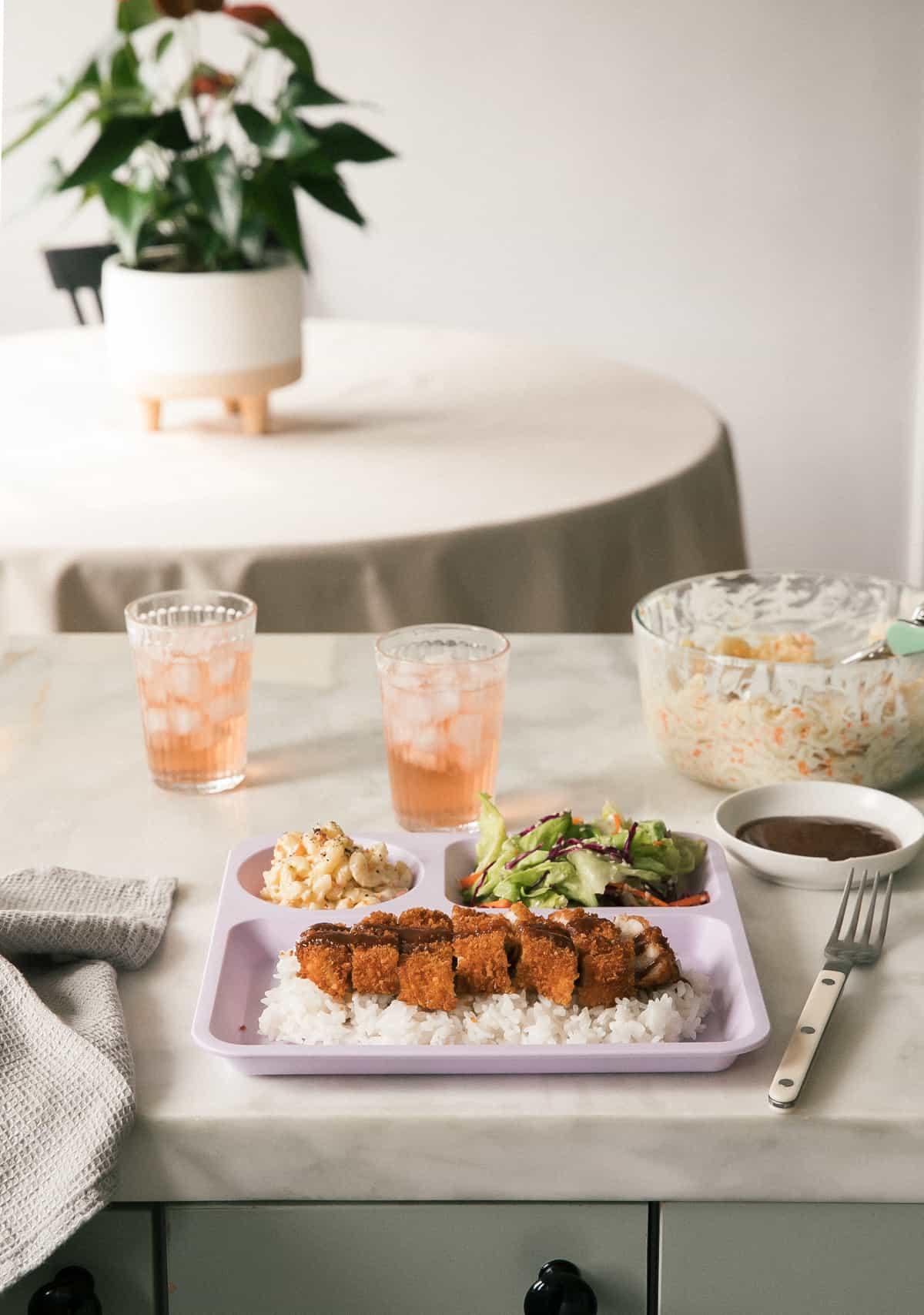 Pork Katsu on a plate straight on