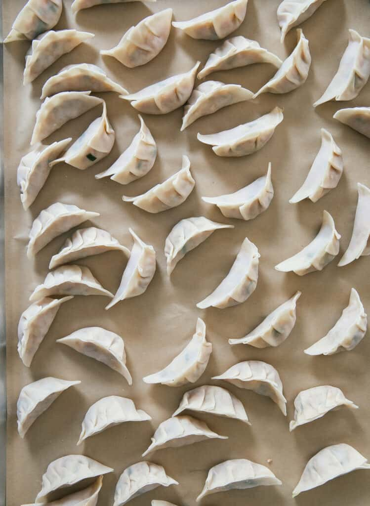 Potstickers being assembled