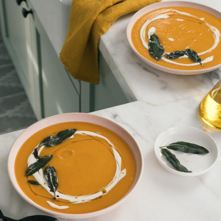 Acorn Squash Soup on counter