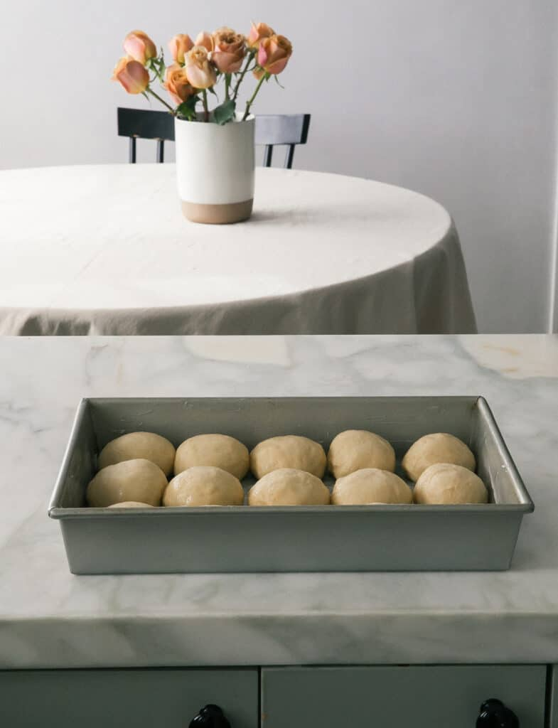 rolls rising in the pan