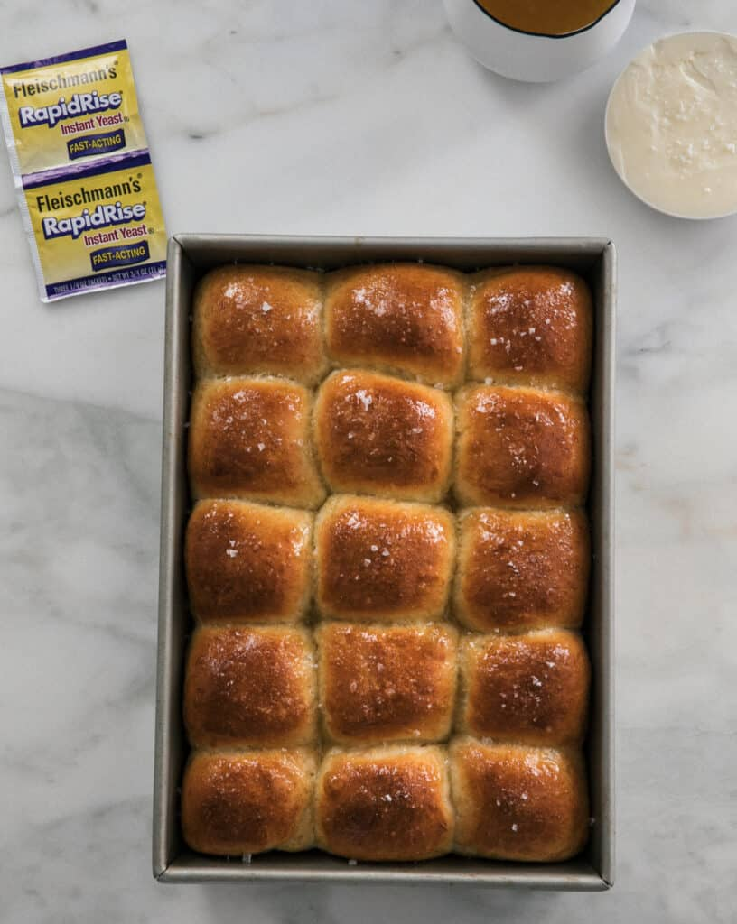 Salted Honey Parker House Rolls on counter overhead
