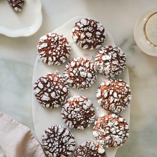 Red Velvet Crinkle Cookies overhead