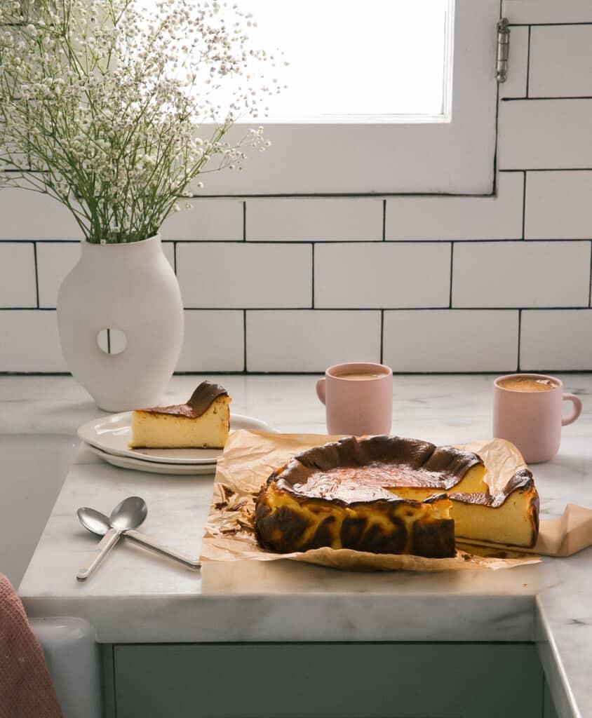 Basque Cheesecake on counter