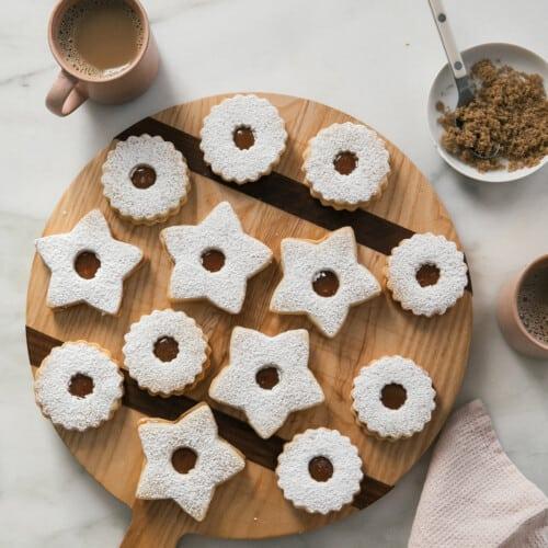 Salted Caramel Linzer Cookies Overhead