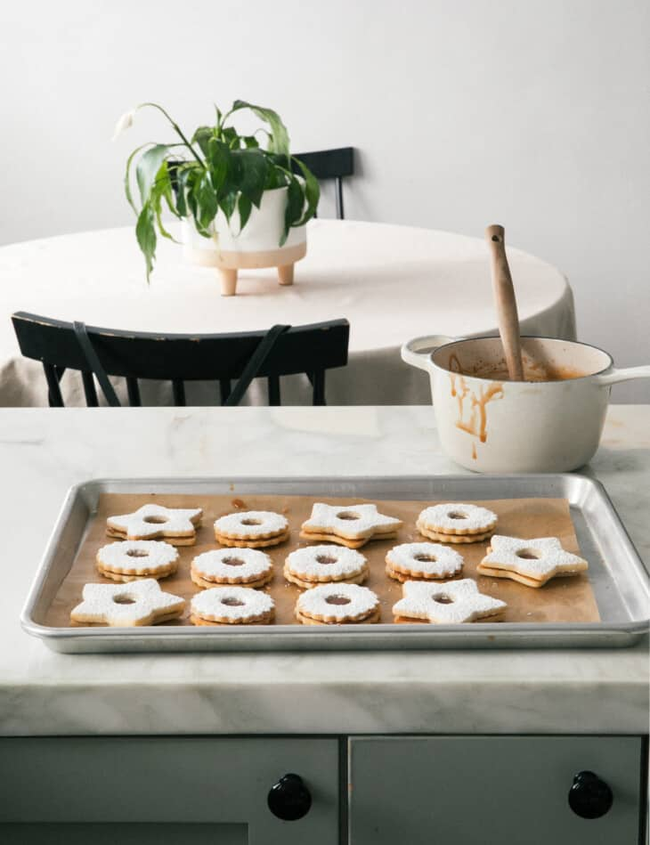 Salted Caramel Linzer Cookies on Counter