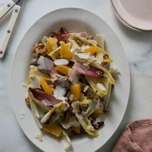 Endive Salad overhead on oval plate