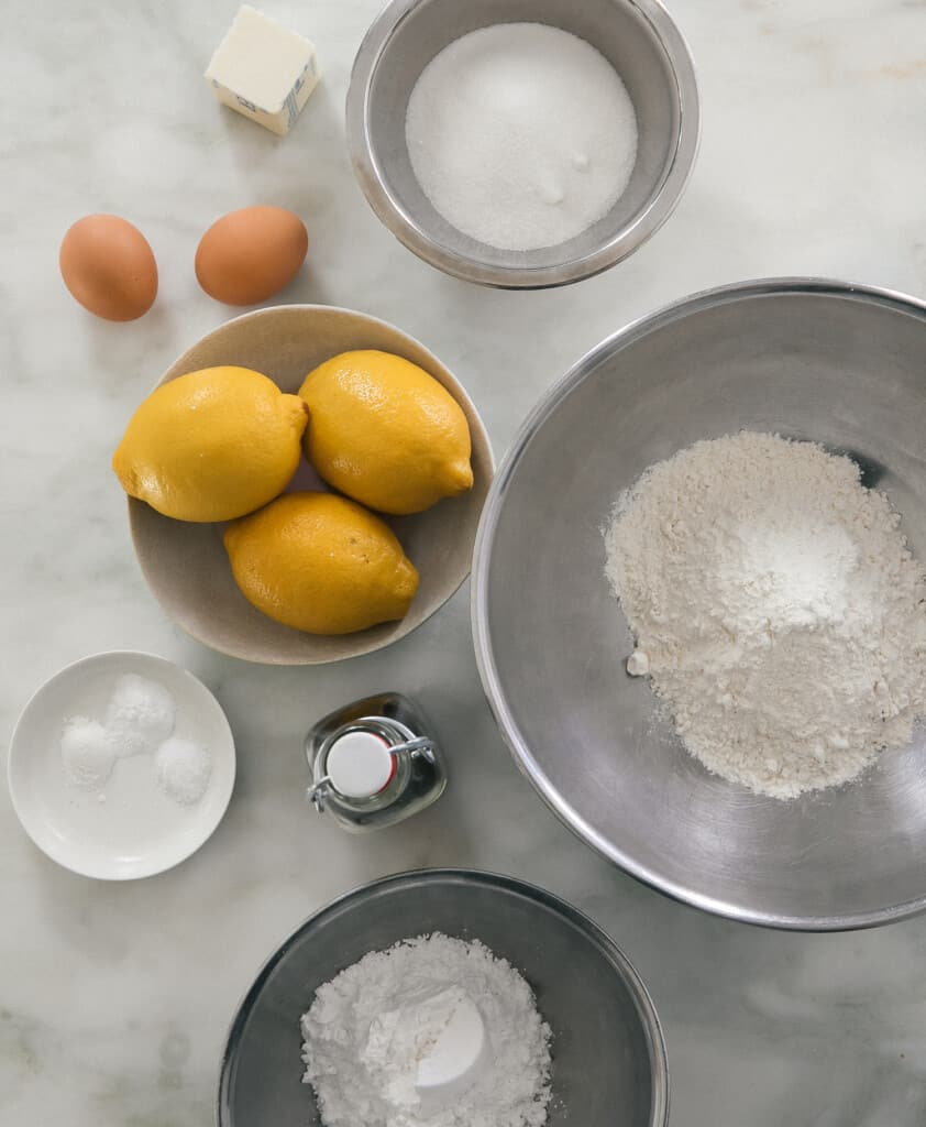 Ingredients for Lemon Crinkle Cookies