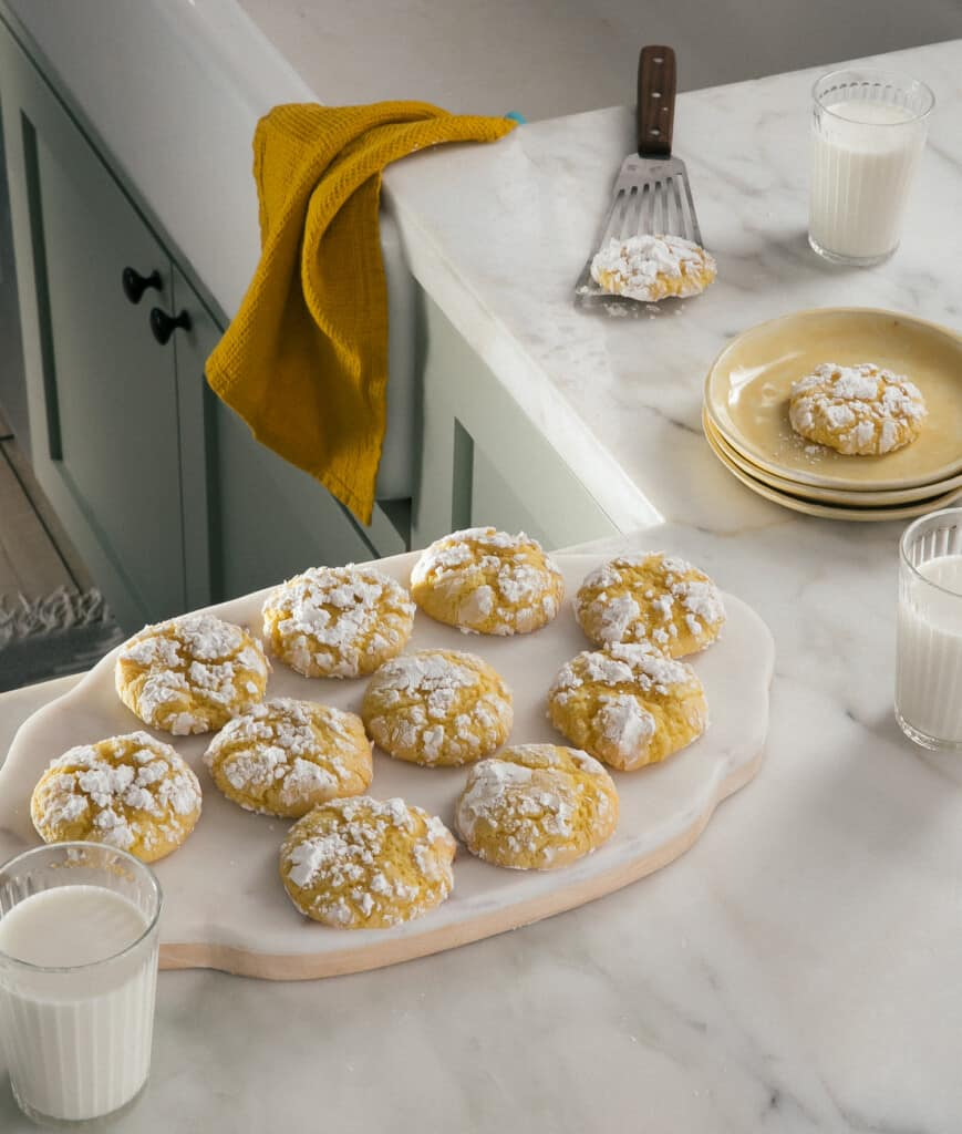 Lemon Crinkle Cookies on counter