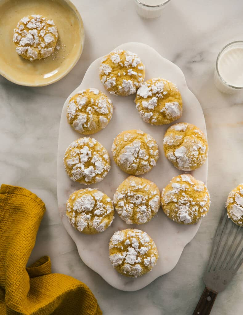 Lemon Crinkle Cookies overhead