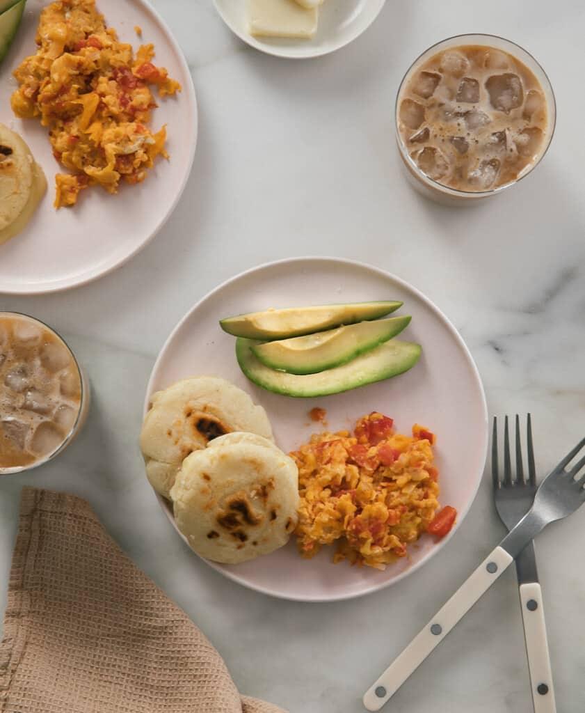 Arepas with Pericos and Avocado