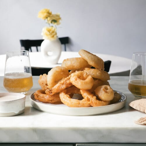 Beer-Battered Vidalia Onion Rings on plate