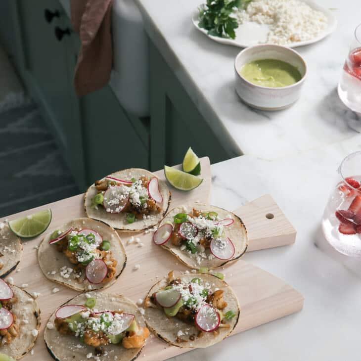 Cauliflower Tacos on cutting board
