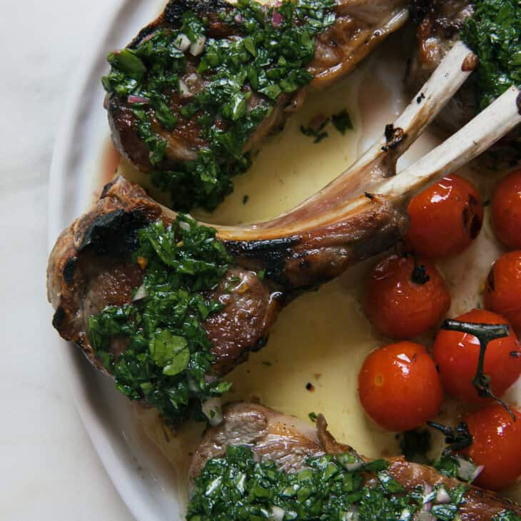 Lamb Chops overhead with tomatoes