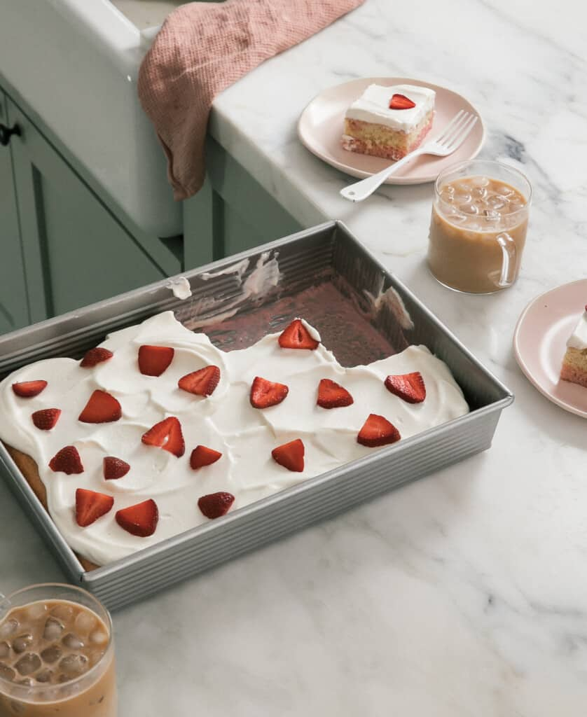 Strawberry Tres Leches Cake on counter