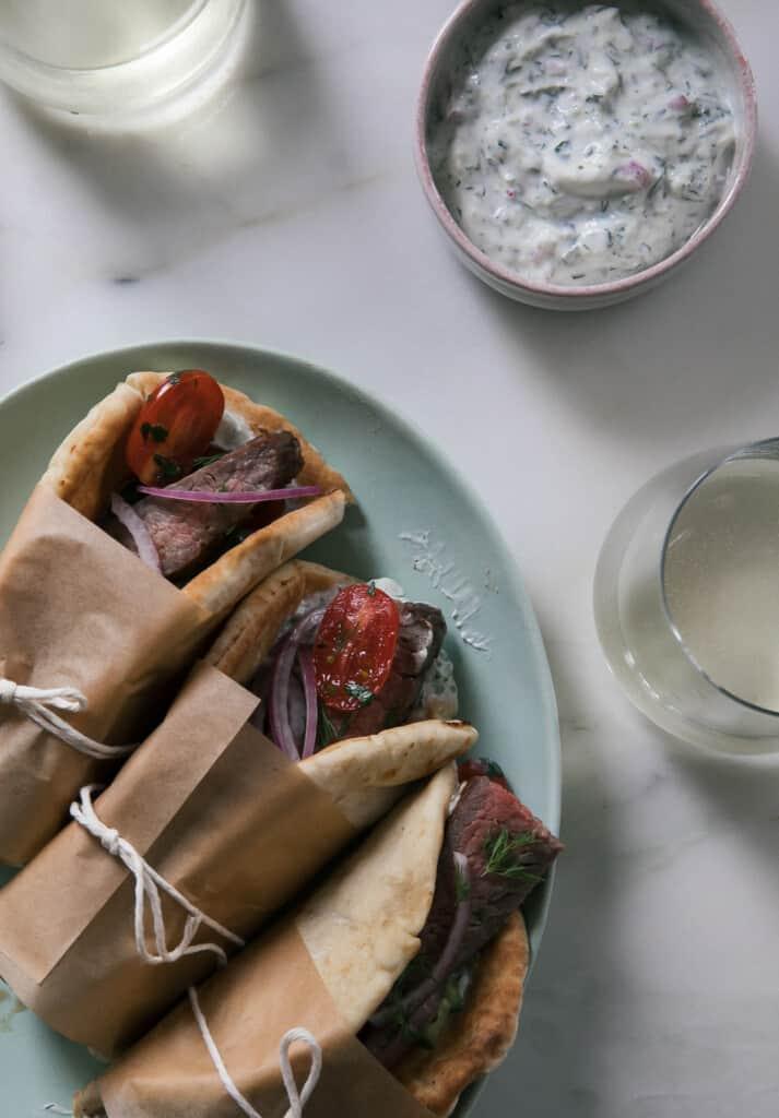 Grilled Grass-fed Steak Gyros